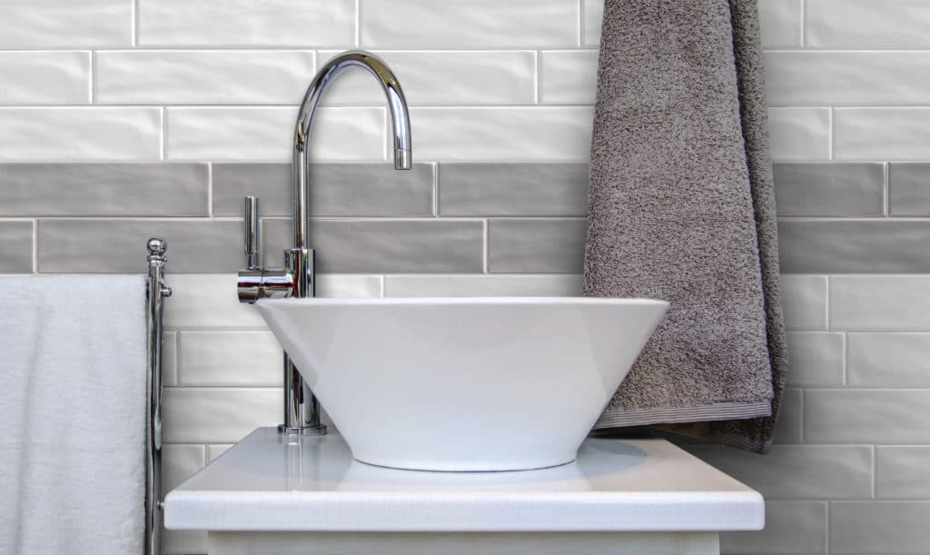 Ceramic bathroom sink in modern toilet