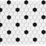 1'' Matte Hexagone White with Black Dot