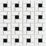 Pinwheel White with Black Dot Matte
